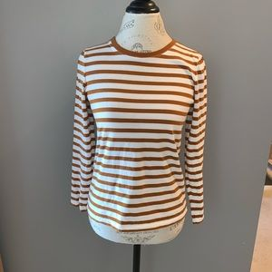 Rust and White Striped Long Sleeved Tee Size S